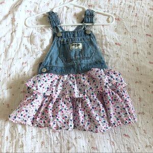 Oshkosh overall floral dress 6-9m